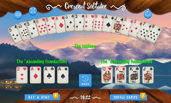 Crescent Solitaire - Board areas (Tableau and Foundations)